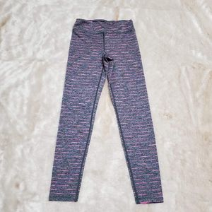 90 DEGREE GRAY AND PINK STRIPED LEGGINGS